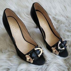 Aldo Black & Gold Buckle Embellished Heels Sz 8